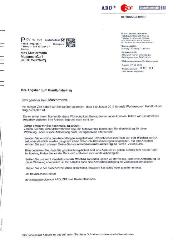 dieses schreiben kennen viele denn sobald man in deutschland offiziell angemeldet ist muss fr jede wohnung ein rundfunkbeitrag bezahlt werden - Asylantrag Muster